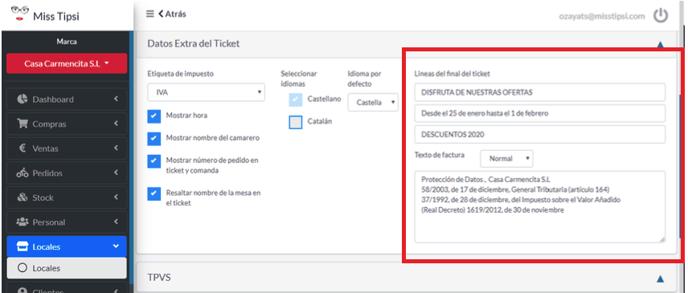 Configurar texto al final de ticket